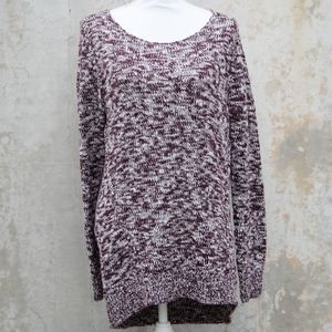 Nordstrom | Burgundy/White Knit Pull Over Sweater